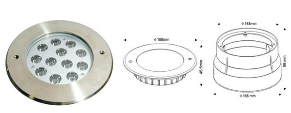 Recessed LED Underwater Lights With PVC Sleeve 36W 304 Stainless Steel RGB
