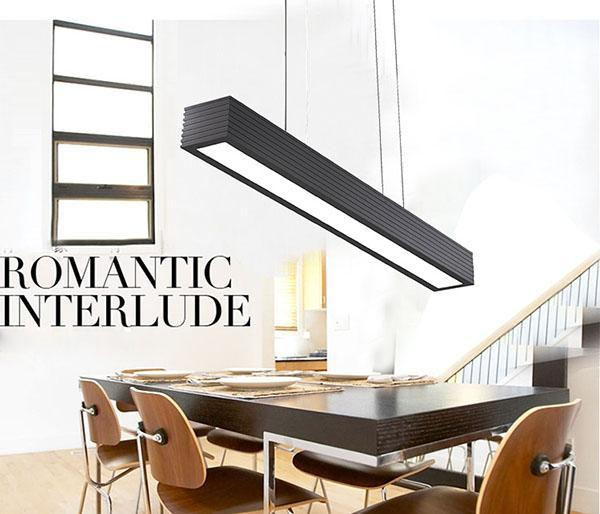Dining Lamp Aluminum Pendant Light Dimmable Square With Right Angle  Double Color