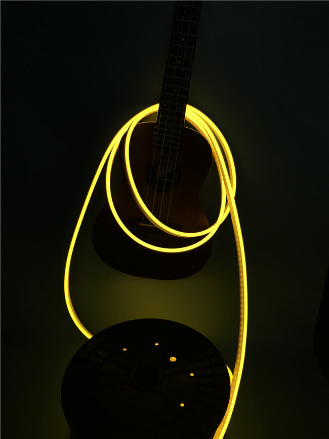 No Dark Spot 6 x 12mm Flexible LED Strip Light / Silicone Neon Rope Light Lemon Yellow Color