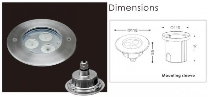 3Pcs CREE / OSRAM LED Underwater Lights With 45 / 35°Asymmetrical Lens