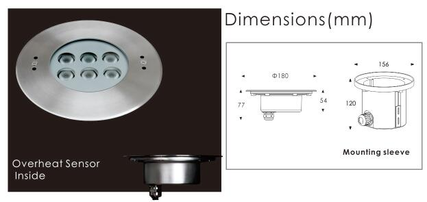 High Brightness LED Underwater Lights With SUS316L Stainless Steel Material